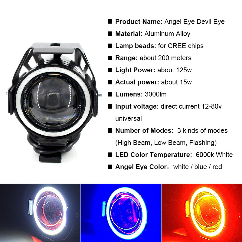 Image 2 - 2PCS x 125W U7 Motorcycle Angel Eyes Headlight DRL spotlights auxiliary bright LED bicycle lamp Fog Light Spot light +Switch    -