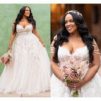 Modest African Plus Size Wedding Dresses 2019 robe de mariee A Line Tulle Custom Made Bridal Gowns For Black Girls Women