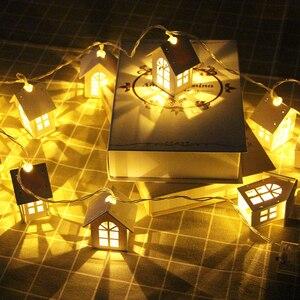 Image 5 - 10/20 led haus stil fee lichter weihnachten girlande neue jahr led party hause dekoration fee string licht batterie betrieben