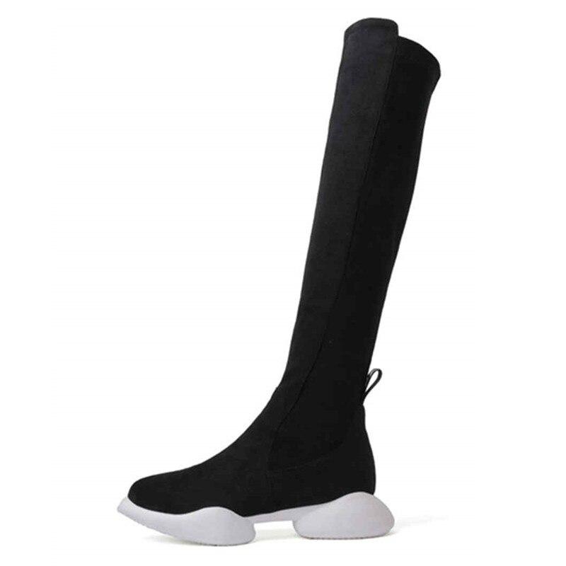 scarpe rotonda moda da alte autunno pelle stivali nero signore zip piatta con pelle donna in al punta Asumer con inverno in ginocchio scamosciata ballo 5TxUq0Cww