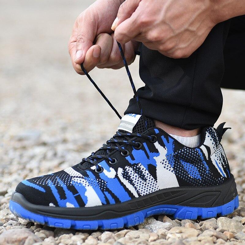 Azul Indestrutível Caps Trabalho Segurança Punção marrom quebra Que Sapatos Biqueira De Proteção Anti Inicialização Aço Cobre Local wT6WZqH