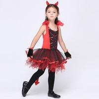 Red Dress With Tiara Tail Cat Girls Toddler Costume Halloween Cat Girl Dress Cosplay Baby Children
