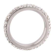 Full Size three row clear crystal Stainless steel Wedding rings CZ Crystals