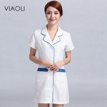 Viaoli 2018 new short Sleeve suit collar women Medical Coat Uniform Medical