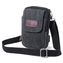 Men's Canvas Multi Purpose Cellphone Purse iPhone 7 Plus Holster Armband Pouch Small Crossbody Bag Waist Pack with Belt Loop
