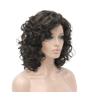 Image 4 - StrongBeauty Womens wig Black/Dark brown Medium Curly Hair Natural Synthetic Full Wigs