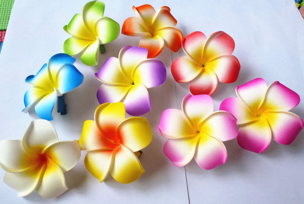 100 new fashion mixed color fabulous hawaii plumeria flowers foam 100 new fashion mixed color fabulous hawaii plumeria flowers foam frangipani flower hair clip bridal hair clip 8cm in hair accessories from mother kids on mightylinksfo Image collections