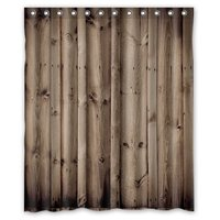 New Arrival Vintage Rustic Knotty Wood Bathroom Polyester Shower Curtain 152x182cm Bath Curtain Bath Screen Waterproof With Hook