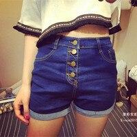 High Waisted Denim Shorts For Women 2016 Summer Stretch Denim Shorts Slim Korean Casual Jeans Shorts