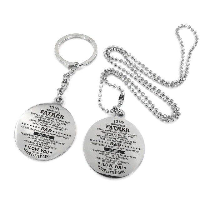 Para mi papá-Personalizado grabado personalizado collar y llavero juego Circular plata cumpleaños aniversario militar regalo