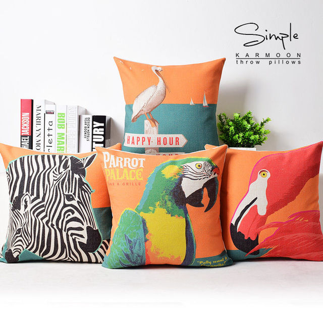 Tropical Animals Flamingo Parrot Cushion Cover Linen Zebra Bird Magnificent Orange Decorative Pillows For Couch