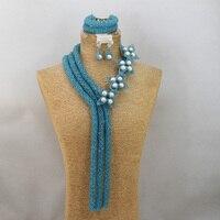 Роскошный в нигерийском стиле бирюзовый голубой кристалл ручной работы Бусины комплект ювелирных изделий Африканский костюм индийский На