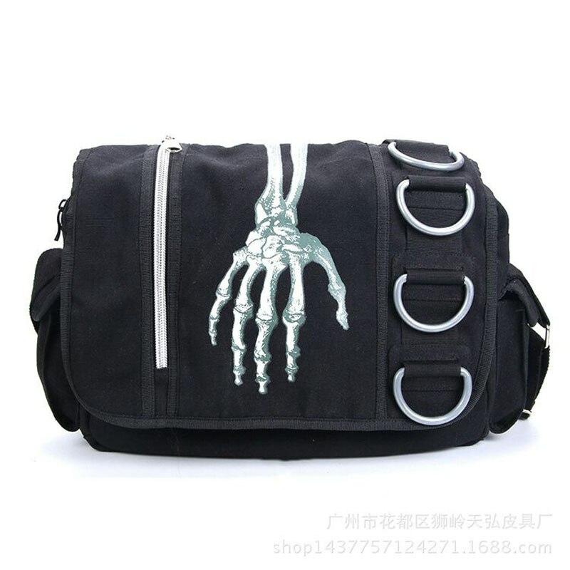 Men Skull Bone Shoulder Bag Halloween Bag For Men Horror Costume Scary Fashion Canvas Bag Casual Purse Terror Bag Men Skeleton
