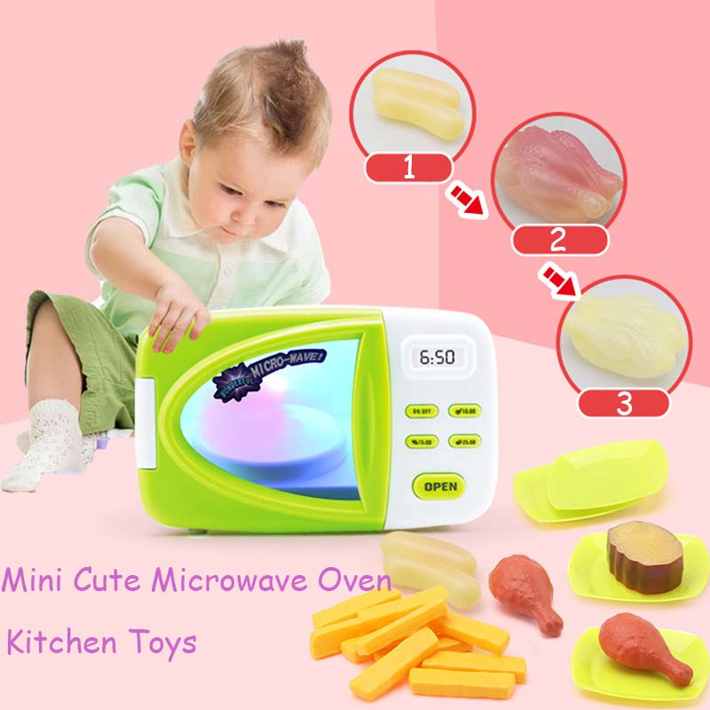 Mini Cute Microwave Oven Kitchen Toys Pretend Role Play Toy Early Educational Food Kitchen Toy For Children Baby Birthday Gift