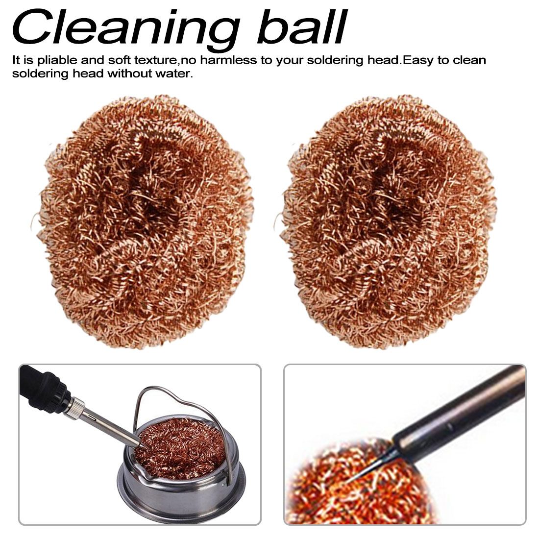 New Steel Wire SpongeDesoldering Soldering Iron Mesh Filter Cleaning Nozzle Tip Copper Wire Ball Clean Ball Dross