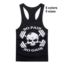 Gymwear New Bodybuilding Golds Singlet Stringer Skull NO PAIN NO GAIN Fitness Muscle Men Tight Workout