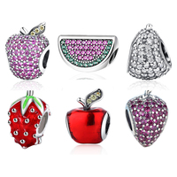 Free Shipping 1pc 100 925 Sterling Silver Enamel Paint Drip Strawberries Bead Charm Bead Fit Biagi