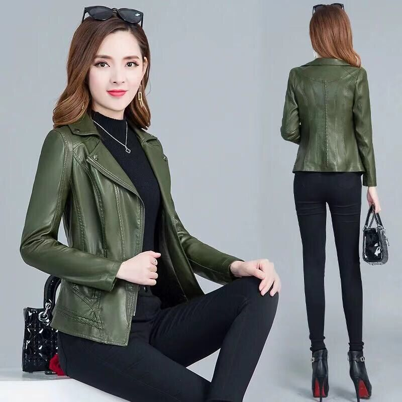 Orwindny Women   Leather   Coat Plus Size 5XL Army Green   Leather   Jacket Female Slim Casual Autumn   Leather   Clothing Base Zipper   Suede