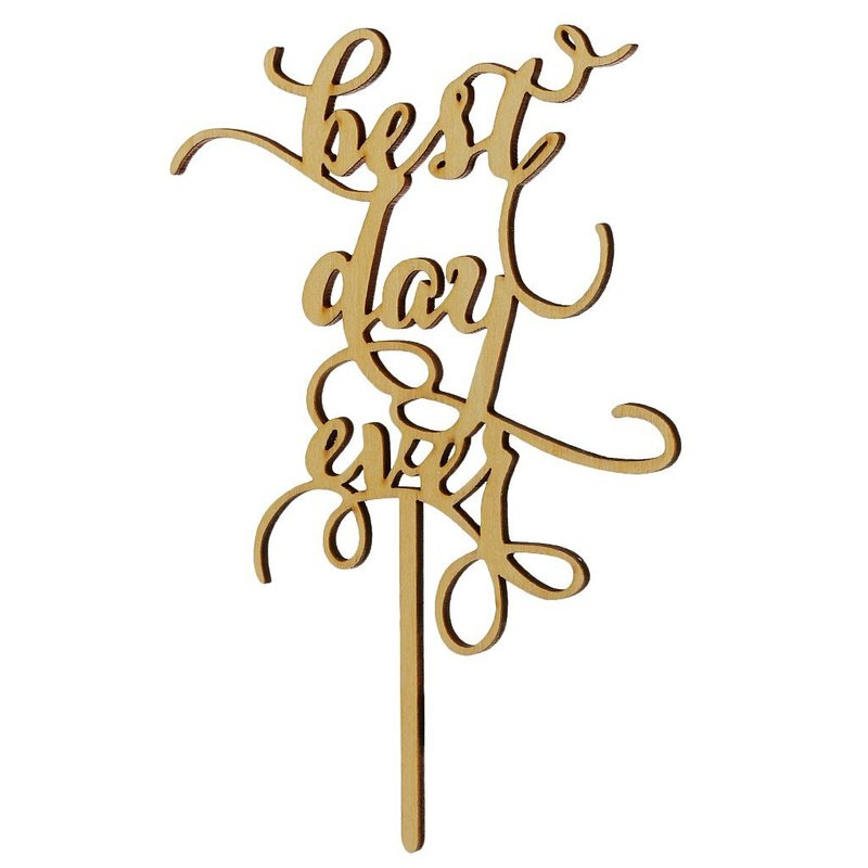 Best Day Ever Rustic Wedding Cake Topper Laser Cut Wood Letters Birthday Wedding Cake Decoration Favors Supplies Engagement Gift image
