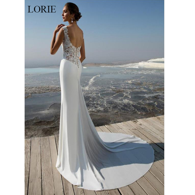 LORIE Mermaid Wedding Dress 2019 soft stain and lace Appliques Bride dress Summer sleeveless wedding dress, Wedding Party Dress 2