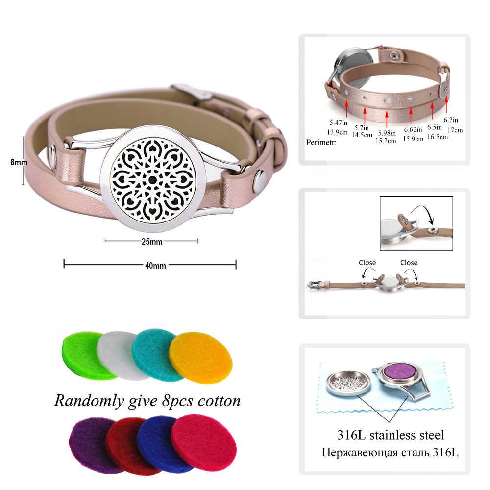 Drzewo życia aromaterapia bransoletka biżuteria OLEJEK ETERYCZNY dyfuzor bransoletka z medalionem Twist śruba skórzane bransoletki dla kobiet mężczyzn