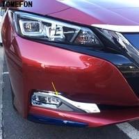 TOMEFON For Nissan Leaf 2017 2018 2019 ABS Chrome Front Bumper Fog Light Lamp Cover Trim Molding Foglights Exterior Styling