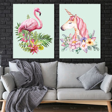 Frameless Printing Flower Wall art Cartoon Animal Pictures for Posters and Prints Flamingo unicorn Canvas Painting