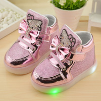 2016 New Autumn Children Shoes Brand Hook Loop LED Shoes Lighted Kids Sneakers Children Led Sneakers