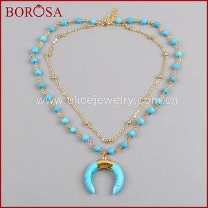 Image 2 - BOROSA זהב צבע כחול ירקרק שמיים כחולים Howlite סטון סהר צופר שכבה G1186 תכשיטי אופנה שרשרת לנשים