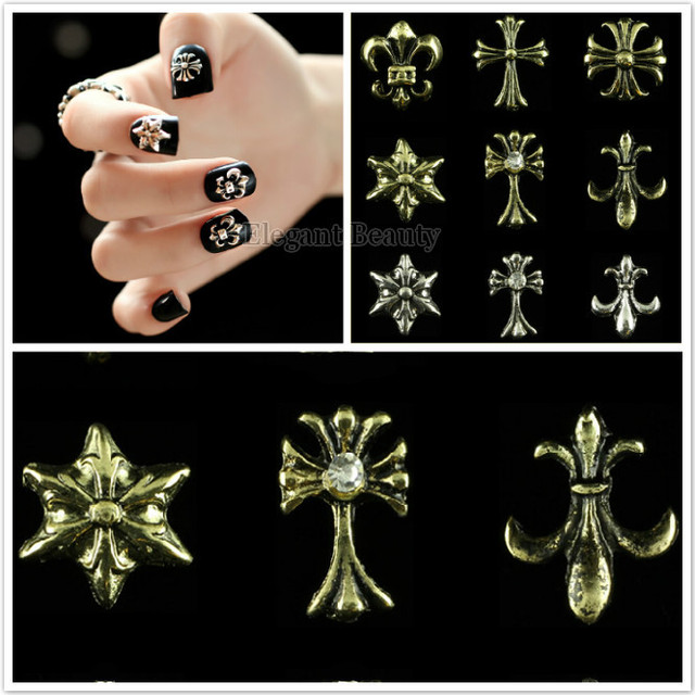 wholesale Fashion decals metal rivet punk Rivet Cross Flower Nail ...