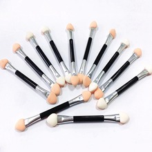 10pcs Nail Powder Glitter Pigment Brush Stick Double-ended Eyeshadow Brush Makeup Manicure Nail Art Tool