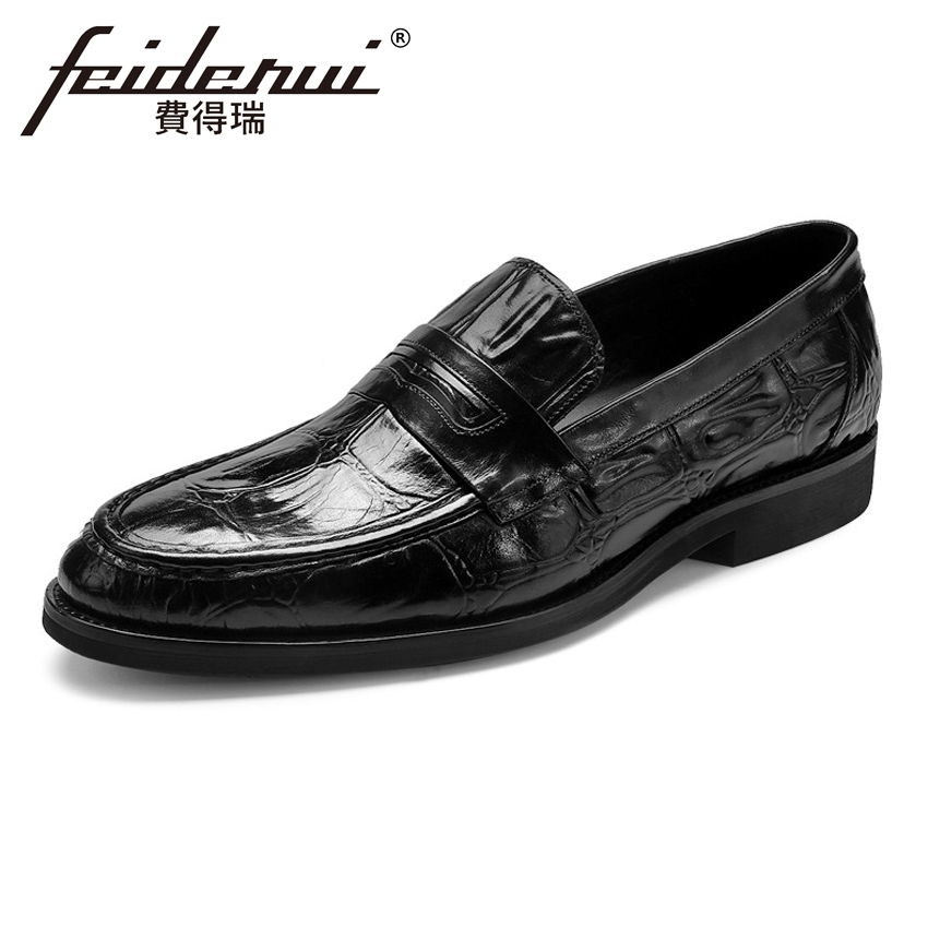 Plus Size Alligator Men's Casual Loafers Round Toe Slip on Man Flats Genuine Cow Leather Handmade Height Increasing Shoes ASD31 size 38 43 2016 new men fashion steel head genuine leather loafers lazy height increasing casual shoes mp10