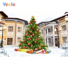 Yeele Christmas Photocall Castle Fallen Snow Pine Photography Backdrops Personalized Photographic Backgrounds For Photo Studio