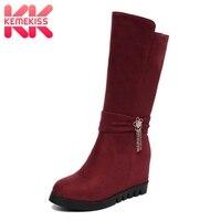 KemeKiss Size 34 43 Short Boots Women's Shoes Fur Warm Half Short Boots Tassels Flowers Shoes Ladies Footwear Fashion Shoes