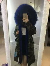 Italy Mr furs army parka long style winter warm fashion Mrs jacket with large raccoon fur collar coats