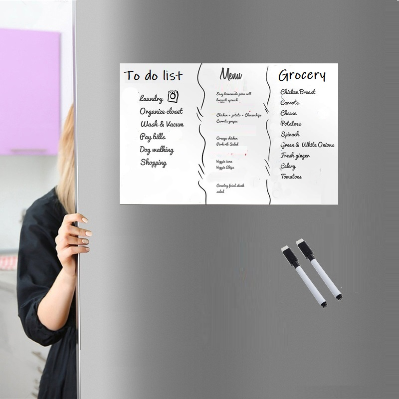 A3 Size Soft Erasable Magnetic Whiteboard For Fridge Magnet Marker Pen Home Kitchen Magnet Flexible Message Board White Board