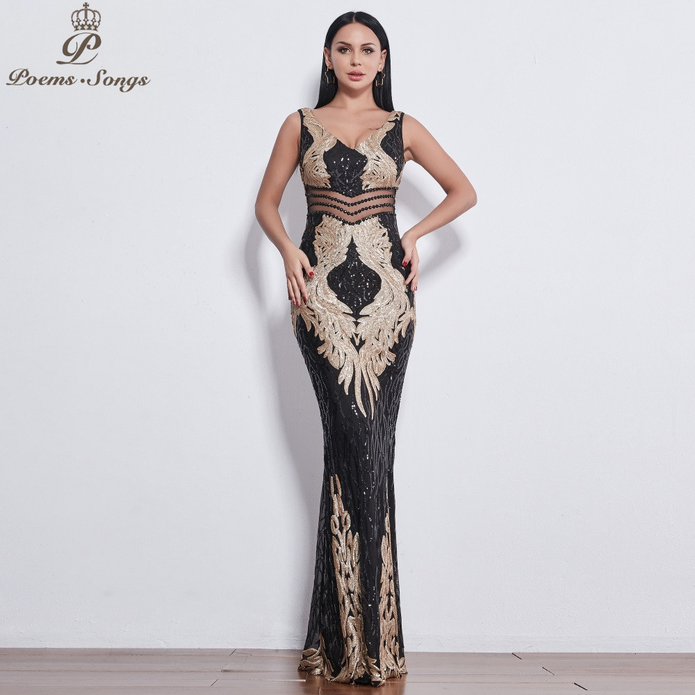 1c4f26d7bf2d7 HOT SALE] Poems Songs 2019 New Angel wings Sequin Evening dresses ...