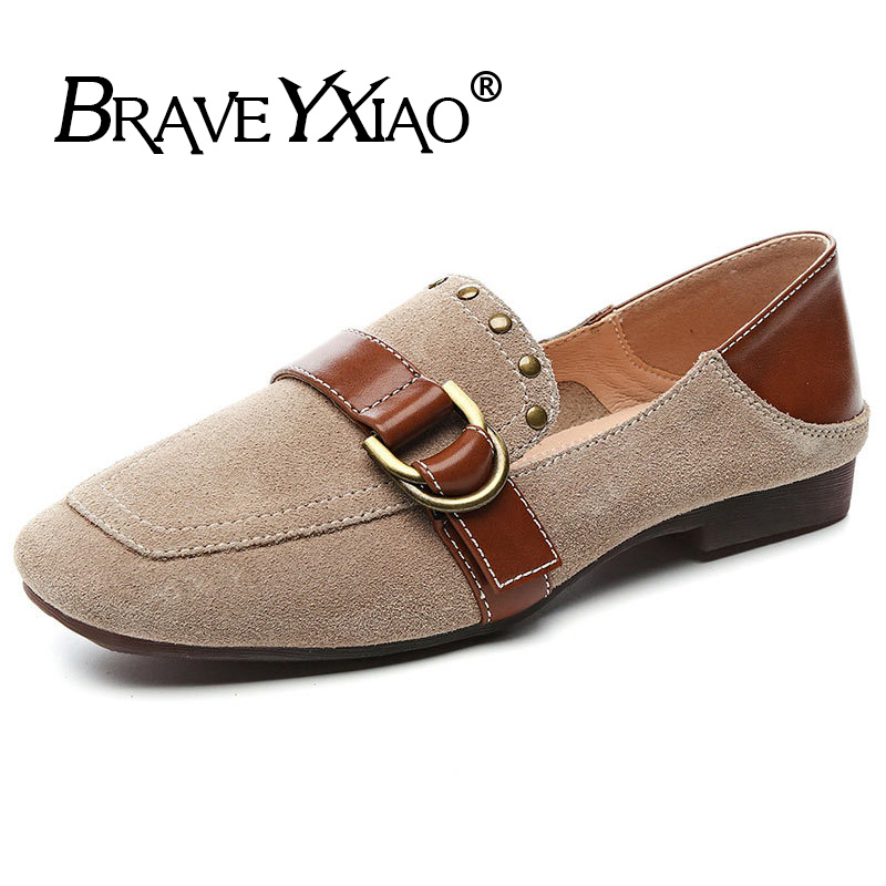 100% Genuine   Leather   Loafers Women Flats   Suede     Leather   Women Shoes 2019 Spring Summer Soft Comfortable Brand Ladies Shoes B002
