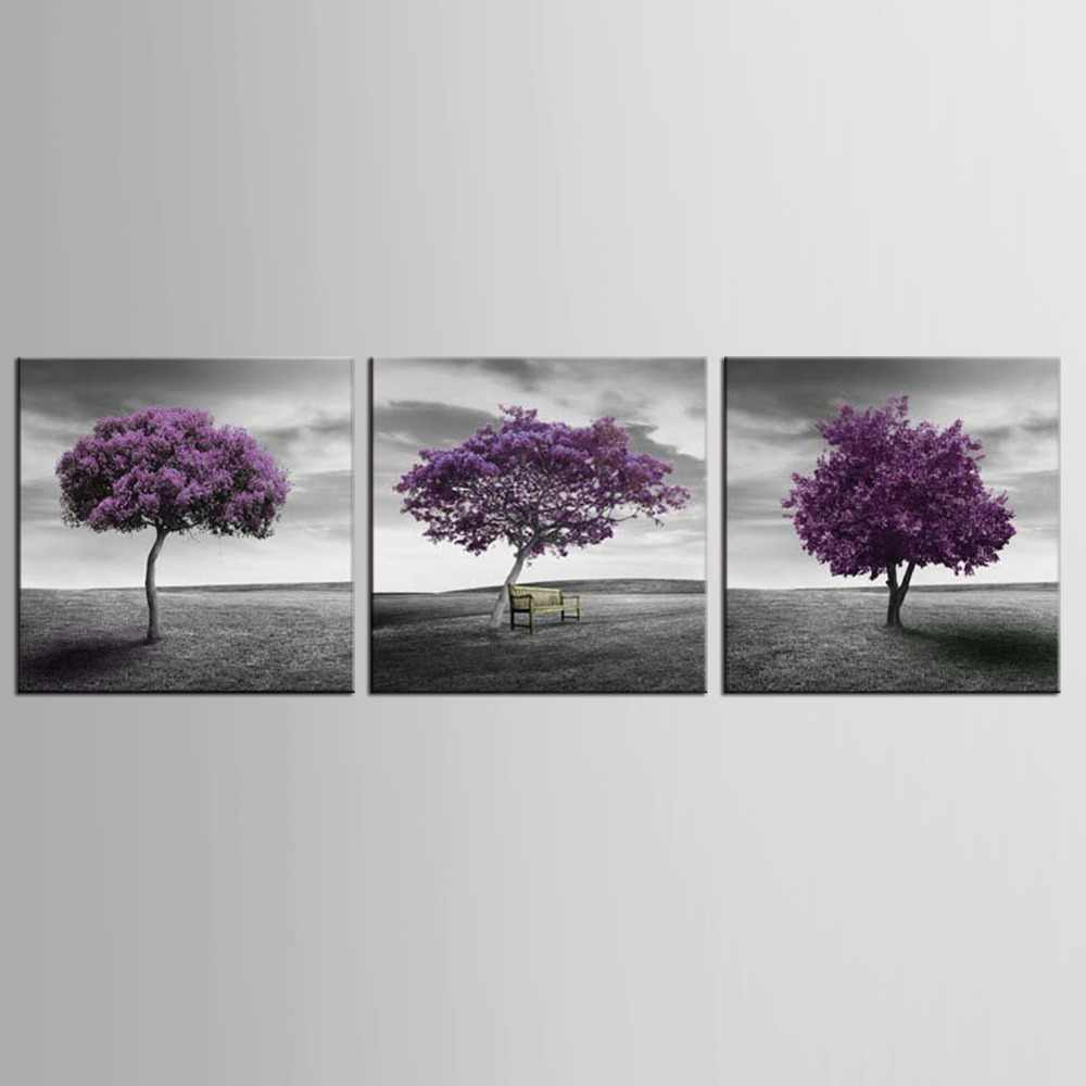 3 panel Modern Wall Art Home Decoration Purple Tree Large Living Room Oil Painting Pictures on Canvas