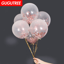 Decorate 12inch gold pink paper scraps latex balloons wedding event christmas halloween festival birthday party HY-345