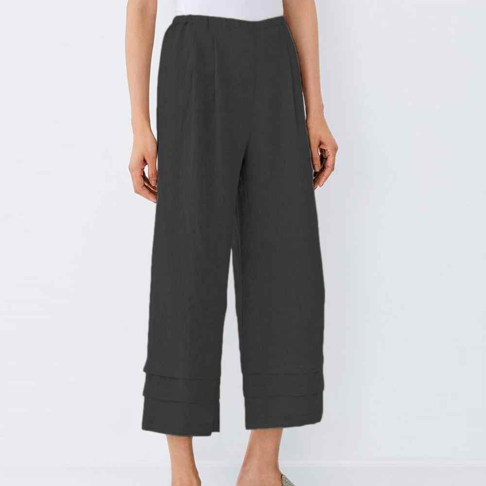 Женские Брюки с карманами и высокой длиной до щиколотки, женские повседневные свободные простые и базовые хлопковые брюки смешанного стиля, большие размеры, Лидер продаж PA3
