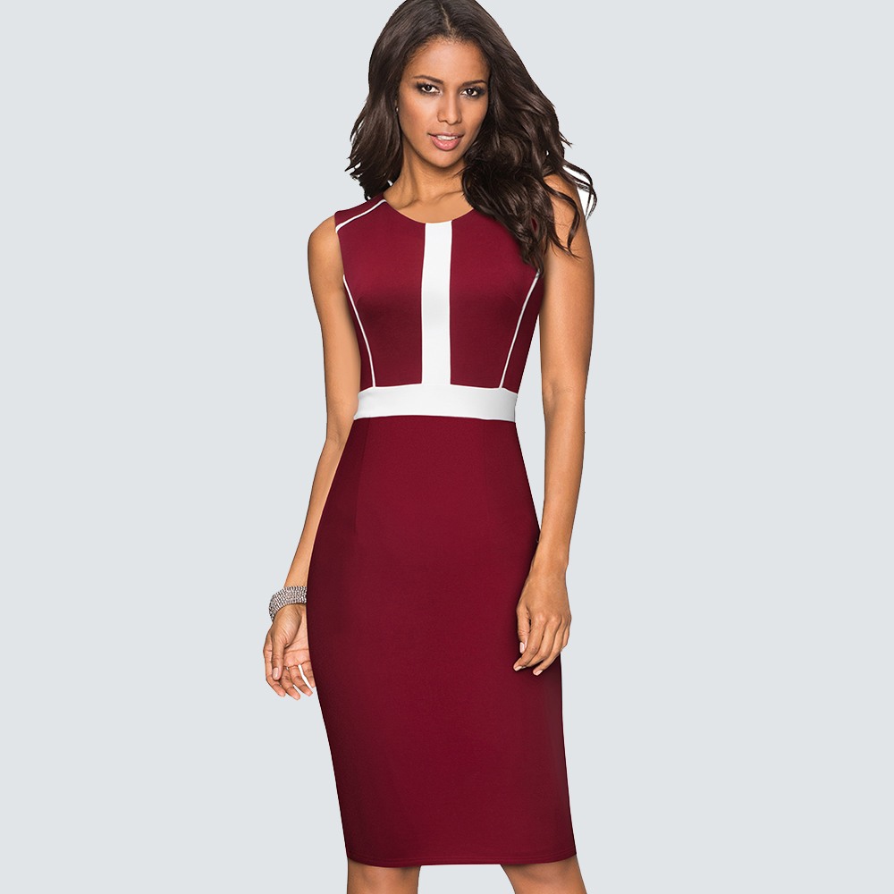 Women Sexy Elegant  Patchwork Casual Wear To Work Dress Business Fitted Bodycon Sheath Party Dress HB530