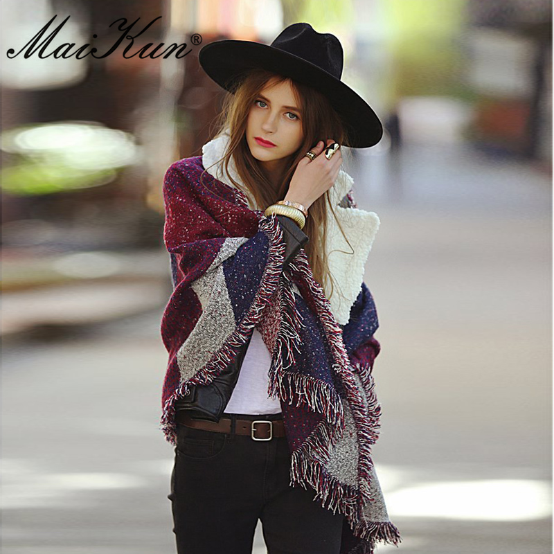 Maikun Fashion Pashmina Women   Scarf   Warm Winter Plaid   Scarf   Shawl Reversible Cape Shawl   Wraps   Blanket Warm