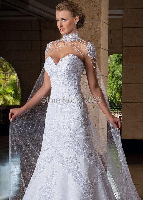 Люкс Свадебное Обертывания Бисероплетение Плеча Длина 1.8 м Белое свадебное болеро Аксессуары 2016