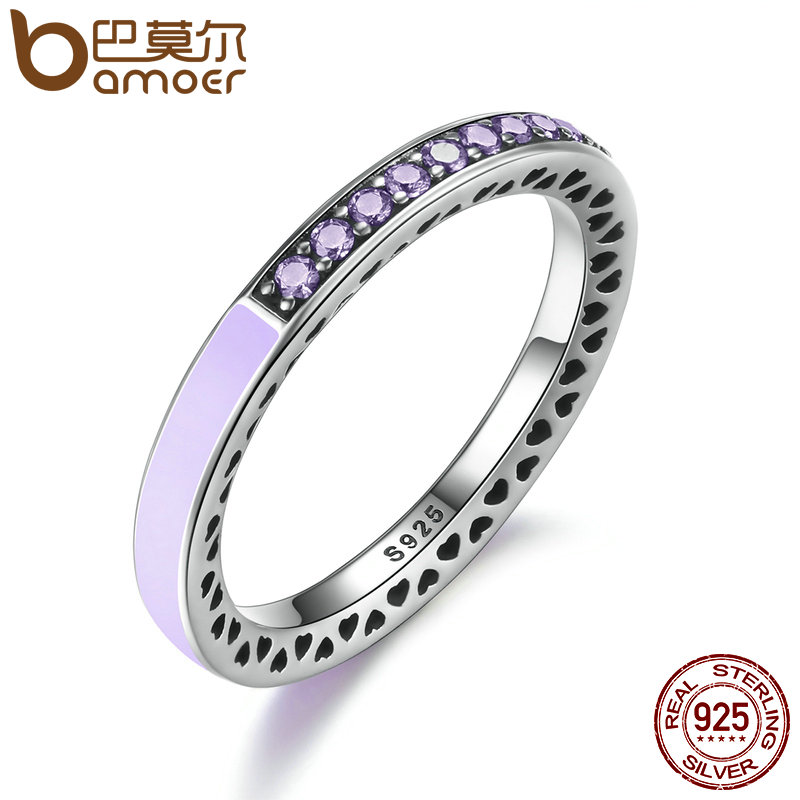 BAMOER Genuine 925 Sterling Silver Radiant Hearts Of Lavender Enamel Ring for Women Purple Clear CZ Engagement Ring PA7605