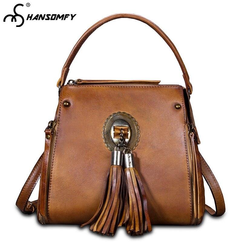 2018 nouveau cuir petites femmes sacs à bandoulière rétro gland femmes seau sacs à main mode femme Messenger sac sac à bandoulière