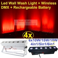 4xLot DHL Free Ship Rechargeable Led Wall Washer Effect Light 6x18W 6in1 RGBWAUV LED Line Bar DJ Lighting Wireless DMX & Battery