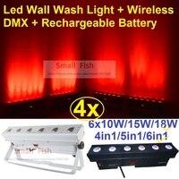4xlot DHL Бесплатная доставка Перезаряжаемые светодиодный прожекторы световой эффект 6X18 Вт 6in1 rgbwauv светодиодный линии бар DJ освещение Беспрово