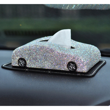 Creative Car Model Multi-use Luxury Leather Car Tissue Box Cover Crystal Rhinestone Block Paper Storage Box