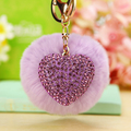 2016 Fashion 8cm Fur Ball Key Chain Shape Heart Rhinestone Metal Keychain Fluffy Keychain Gift Car or Bag Pendant Charm Luxury